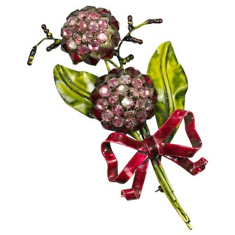 SANDOR Sterling Pink Red Rhinestone Flower Brooch Pin