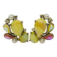 Schiaparelli Iridescent Yellow and Pink Clip Earrings