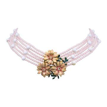Vintage Sandor Pink 6 Strand Enamel Rhinestone Flower Bead Necklace