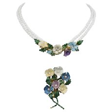 Sandor Enamel Flowers Glass Bead Necklace and  Brooch Pin