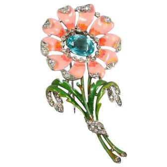Trifari Alfred Philippe Floral Fur Clip
