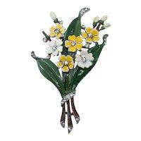Trifari Alfred Philippe Enamel Flower Fur Clip Brooch