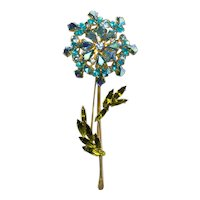 Weiss Pale Blue, Aquamarine, Aurora borealis, Lime Green Rhinestone Flower Brooch Pin