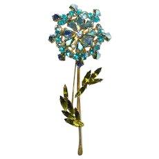 Weiss Pale Blue, Aquamarine, Aurora borealis, Lime Green Rhinestone Flower Brooch Pin