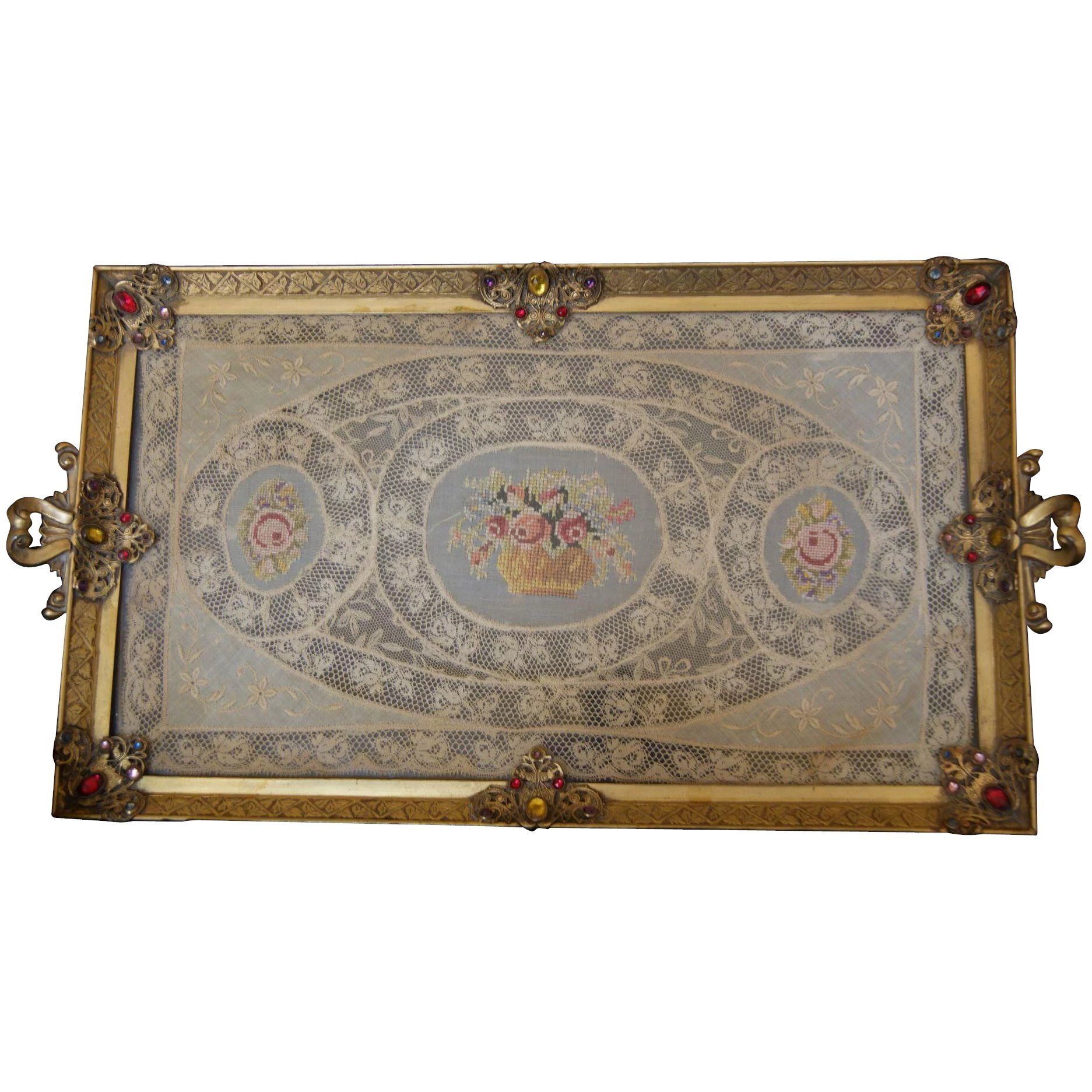 Vintage 1920 S Apollo Studios Jeweled Vanity Perfume Tray W Lace Fifi S Antique Perfume Bottles Rare Compacts Ruby Lane