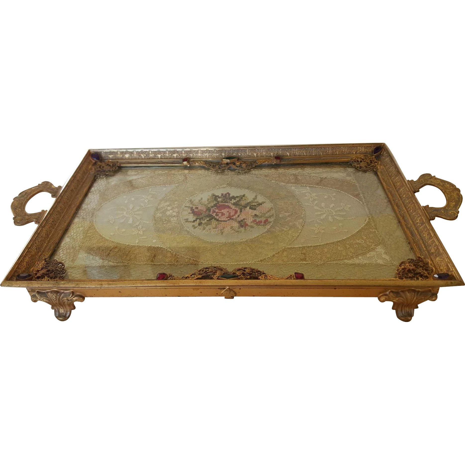 Vintage 1920 S Jeweled Silvercraft Vanity Tray W Lace Insert Fifi Antique Perfume Bottles Rare Compacts Ruby Lane