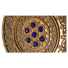 Scarce Lrg. Antique French Jeweled Compact Blue & Gold Ormolu