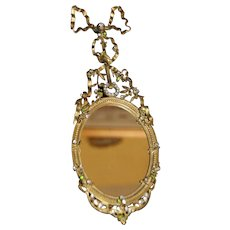 Antique Elaborate  French Jeweled Mirror or Miniature Picture Frame w/ BOW Bronze Dore
