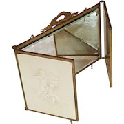 Fabulous Antique 1890's Victorian Celluloid Cherubs/Cupid-Tri-Fold Triple Vanity Beveled  Mirror-Bridal