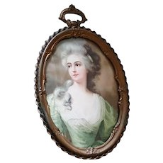 Antique Golden Bronze Picture Frame w/ Convex & Portrait French Lady