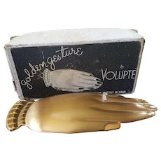 "Rare Volupte ""Golden Gesture""  Compact Features Engagement Ring w/Org. Box, Puff & Sleeve Mint Condition"