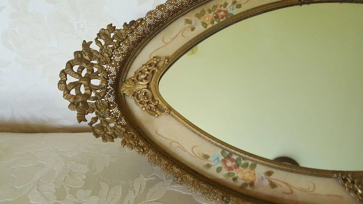 Lrg. Vintage 1910-1920's Vanity Tray Mirror w/ Gold French Bows & Filigree - Lrg. Vintage 1910-1920's Vanity Tray Mirror W/ Gold French Bows