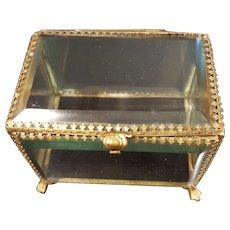 Superb Antique French Beveled Glass Casket w/ Gold gilt Frame