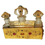 Splendid 1920's Jeweled Czech Triple Bottles w/ Gold Gilt Jeweled Caddy