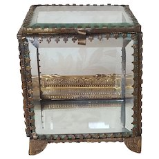 Lovely Antique French Beveled Glass Casket w/ Gold gilt Frame Trinket Box