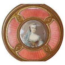 Antique French Powder Jar w/ Miniature Portrait & Guilloche Enamel Gilt Bronze Jewelry Casket Picture Frame