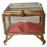 Small Antique French Beveled Glass & Gilt Casket w/ Red Silk Cushion Trinket Box