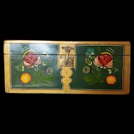 """Large Antique 'Coffre de Mariage' French Marriage Domed Top Trunk 15"""" x 7"""" Box 1800's Hand Painted w/ Key"""