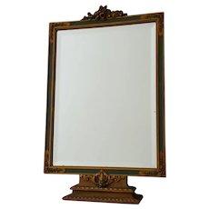 Charming Vintage Barbola Vanity Table Beveled Mirror