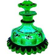 Ultra Rare Antique Uranium Green Glass Perfume Bottle Gold Jeweled Skirted