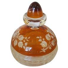 Vintage Czech Cut to Clear Vanity Jar Powder Trinket Jar