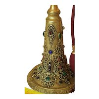 Rare 1920's Jeweled Antique Huge Empire Art Gold Perfume Bottle Atomizer ormolu/ colorful Gems