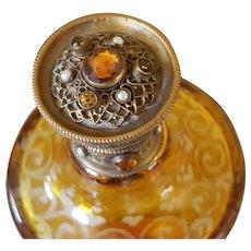 Rare Antique Lrg. Jeweled Perfume Gold Ormolu Amber Glass Cologne Bottle Austria or Bohemian