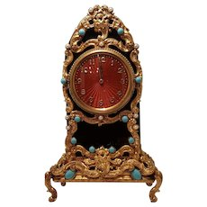 Antique Jeweled Guilloche Black Glass Ormolu Gilt Mantel Clock