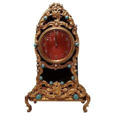 NEW PRICE DROP Antique Jeweled Guilloche Black Glass Ormolu Gilt Mantel Clock