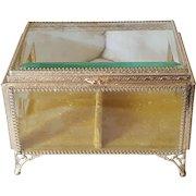Antique LRG.Jewelry Casket Beveled Glass Ormolu Vitrine Display Case Trinket Box