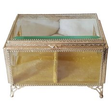 Antique LRG.Jewelry Casket Beveled Glass Ormolu Vitrine Display Case Trinket Box