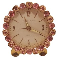 Dazzling PINK ! Jeweled w/ Filigree Vintage Phinney-Walker Alarm Vanity German Clock WORKS!