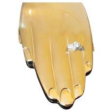 "Rare Volupte ""Golden Guester"" Hand Compact w/ Engagement Ring! Novelty shape"