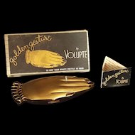 Rare! Golden Gesture Hand Compact w/ Org. Box by Volupte novelty shape w/ ring!
