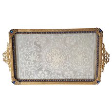 1920's Luxurious Gold & Blue Jeweled Vanity Tray w/ Normandy Lace Insert