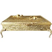 Luxurious Globe Jewelry Casket Trinket Box Gold Plate