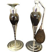 1920's Devilbiss Perfume Bottle & Atomizer Set of 2  Vintage Art Deco