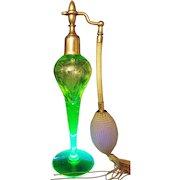 Vintage French made Vaseline Cut Glass Perfume Atomizer Bottle