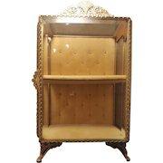Vintage Stand up 2 shelf Casket Gold Ormolu Beveled Glass Vitrine Jewelry Trinket Box