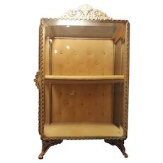 Vintage Stand up 2 shelf Casket Gold Ormolu Beveled Glass Vitrine Jewelry Trinket Box