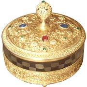 Jeweled Powder Jar w/ Gold Ormolu dates to 1923