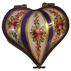 Antique Limoges Hand Painted Heart Shaped Box