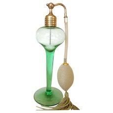 Vintage Volupte Green Glass Perfume Bottle Atomizer Excellent