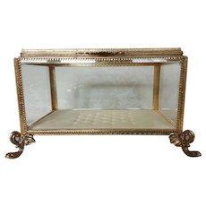 Sizable Vintage Casket w/ Beveled Glass Vitrine Display Large Jewelry Box Huge & Heavy