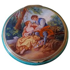 Superb Sterling & Guilloche Compact w/ Miniature Painting