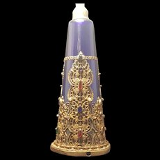 Sizable E & J B Empire Art Gold Jeweled Bristol Blue Perfume Atomizer * Hard to Find * sold as is