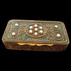 Vintage French Jeweled & Enamel Compact w/ Double compartments