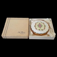 Vintage La Mode Guilloche Compact w/ Org. Box