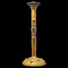 1920's Vintage Jeweled Tall Bud Vase Gold Ormolu