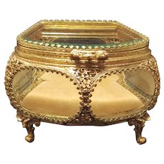 Perfect! Antique Gold Ormolu Vanity Casket Trinket Box Jewerly